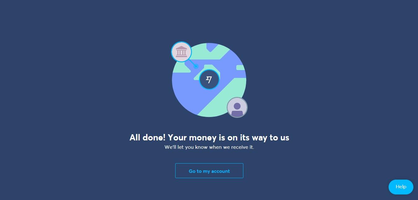 Potvrzovací okno na webu TransferWise, které informuje o tom, že převod byl v pořádku vyřízen a peníze jsou na cestě.