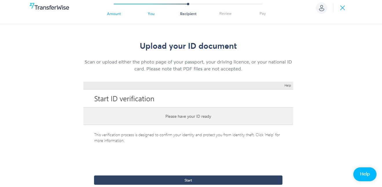 Stránka pro ověření identity na webu TransferWise. Web žádá o potvrzení z bezpečnostních důvodů.