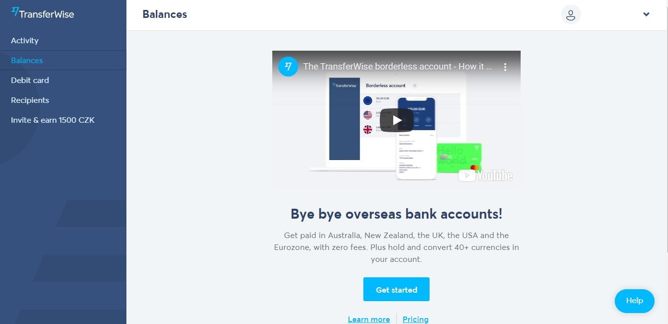 """Stránka """"Balances"""" na webu TransferWise, kde klikneme na modré tlačítko """"Get started"""" a tím si zřídíme zahraniční účet."""