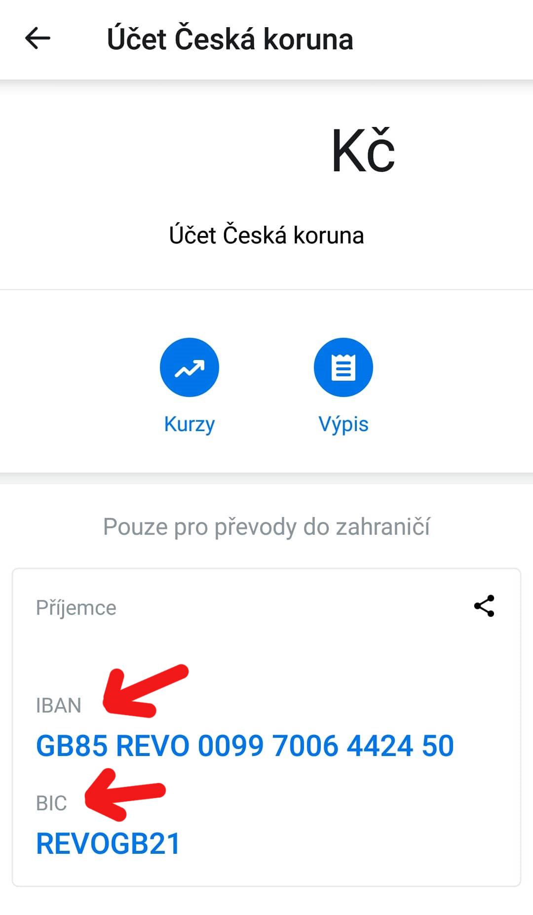 """Detail čísel IBAN a BIC v aplikaci Revolut, které se objevily po kliknutí na náš účet v sekci """"Řídící panel""""."""