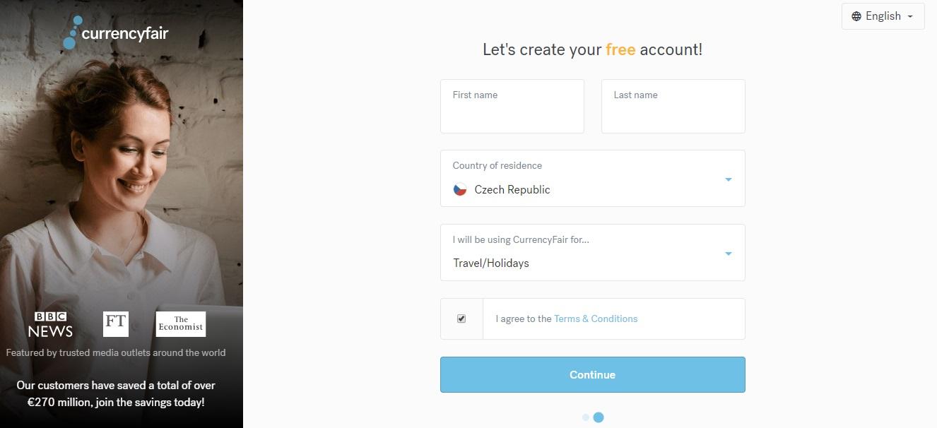 Registrační formulář služby CurrencyFair, ve kterém zadáme údaje jako například jméno či zemi, ze které pocházíme.