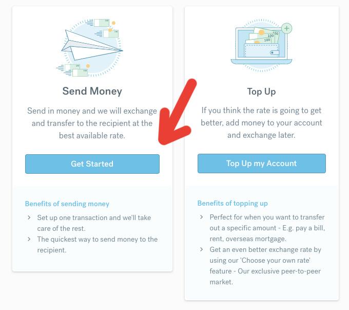 Okénka s možnostmi Send money (poslat peníze) a Top Up (dobít peníze) na webu CurrencyFair. My vybíráme možnost Send Money.