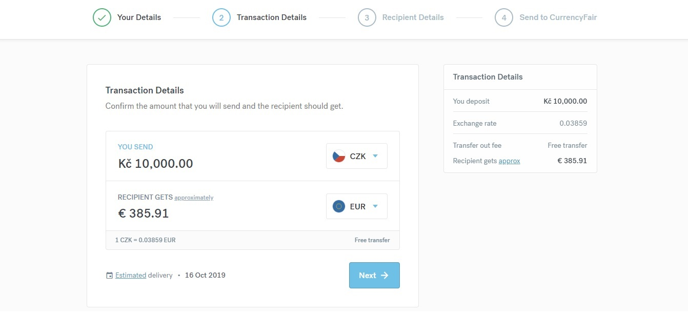 Zadání částky k převodu na webu CurrencyFair. Vybereme si, kolik peněz chceme poslat, a mezi jakými měnami chceme měnit.