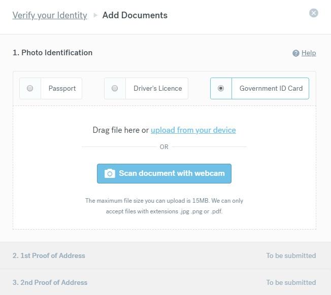 Stránka s ověřením identity na webu CurrencyFair. Můžeme zde nahrát fotku našeho pasu, řidičáku nebo občanky.
