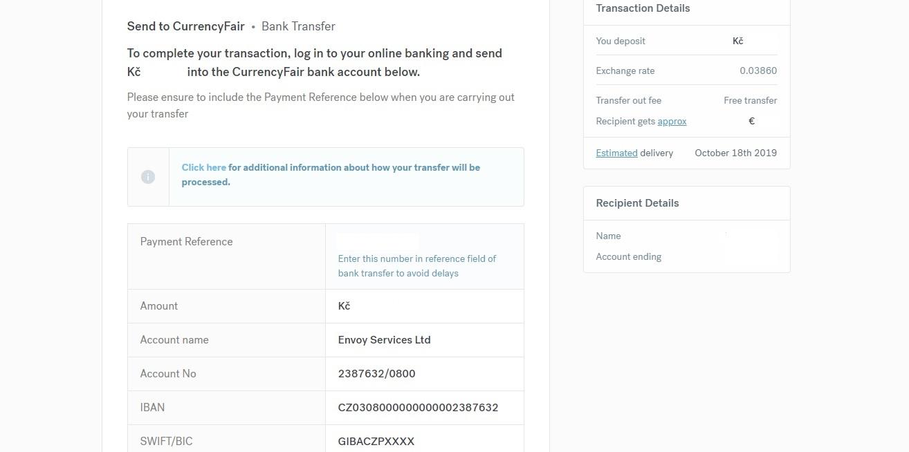 Stránka CurrencyFair s údaji, které nám říkají, kam poslat peníze (mezi údaji je například IBAN, SWIFT či jméno účtu).
