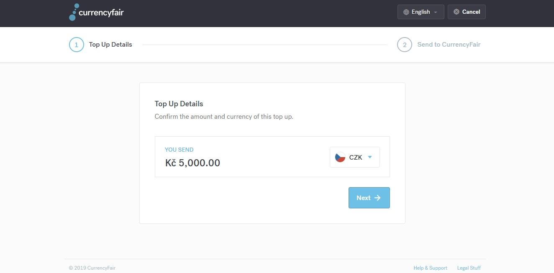 Sekce Top Up na webu CurrencyFair, ve které můžeme dobít peníze na náš CurrencyFair účet a později je směnit.