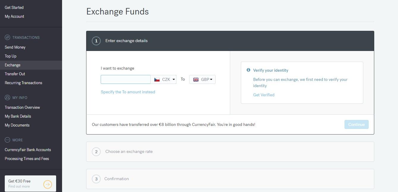 Sekce Exchange na webu CurrencyFair, ve které můžeme směnit peníze z CurrencyFair účtu na měnu, jakou si vybereme.