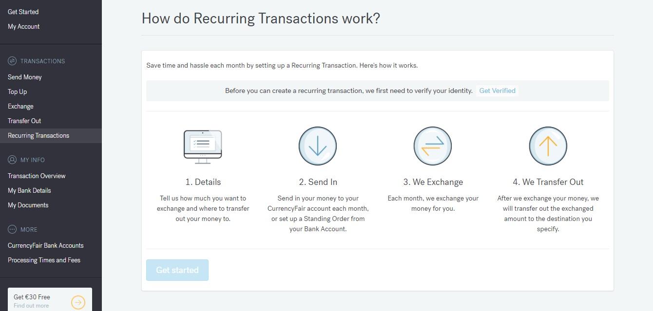 Sekce Recurring Transactions na webu CurrencyFair, ve které můžeme nastavit opakovanou měsíční platbu.