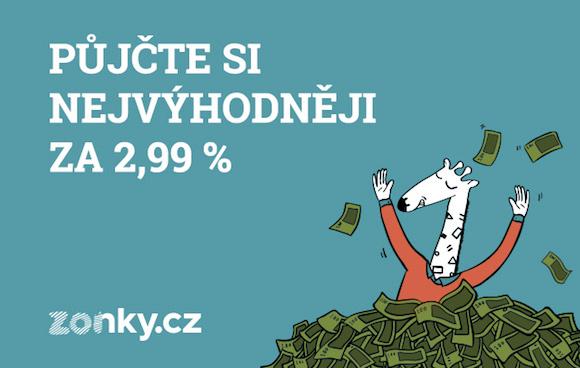"""Reklamní obrázek Zonky, na kterém je žirafa, která se koupe v penězích a text """"půjčte si nejvýhodněji za 2,99 %""""."""