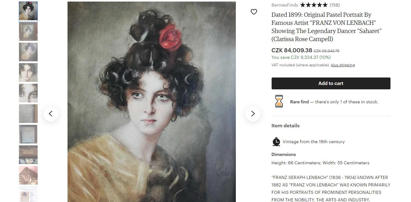 Krásný dívčí portrét od německého malíře Franze von Lenbacha, který se na Etsy prodává za 84009korun.