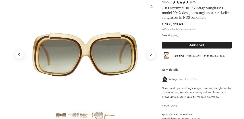 Vintage brýle od Diora ze sedmdesátých let se žlutými obroučkami, které se na Etsy prodávají za 6720Kč.