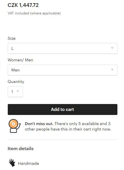 Stránka produktu na obchodu Etsy, na které můžeme kliknout na tlačítko Add to cart, čímž zboží přidáme do košíku.