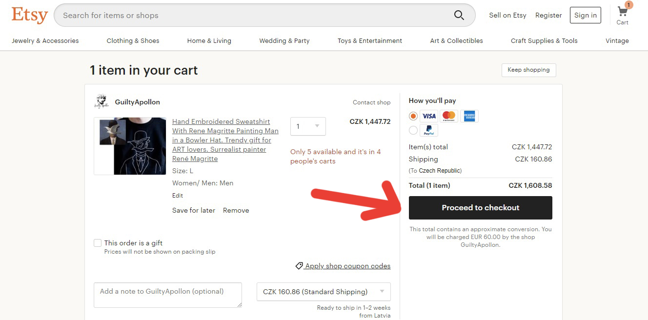 """Stránka na obchodu Etsy, na které můžeme kliknout na tlačítko """"Proceed to checkout"""" a tím vyřídit naši objednávku."""