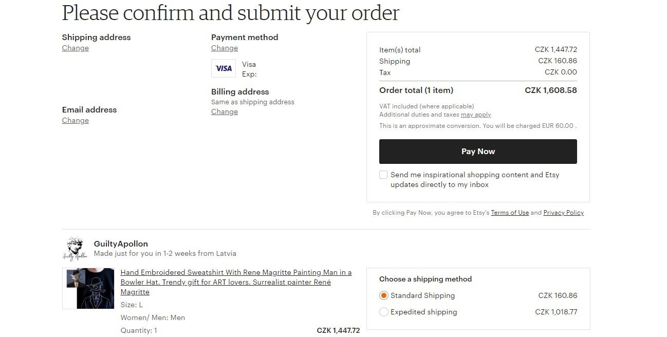 Webová stránka obchodu Etsy, na které finálně a závazně potvrzujeme naši objednávku.