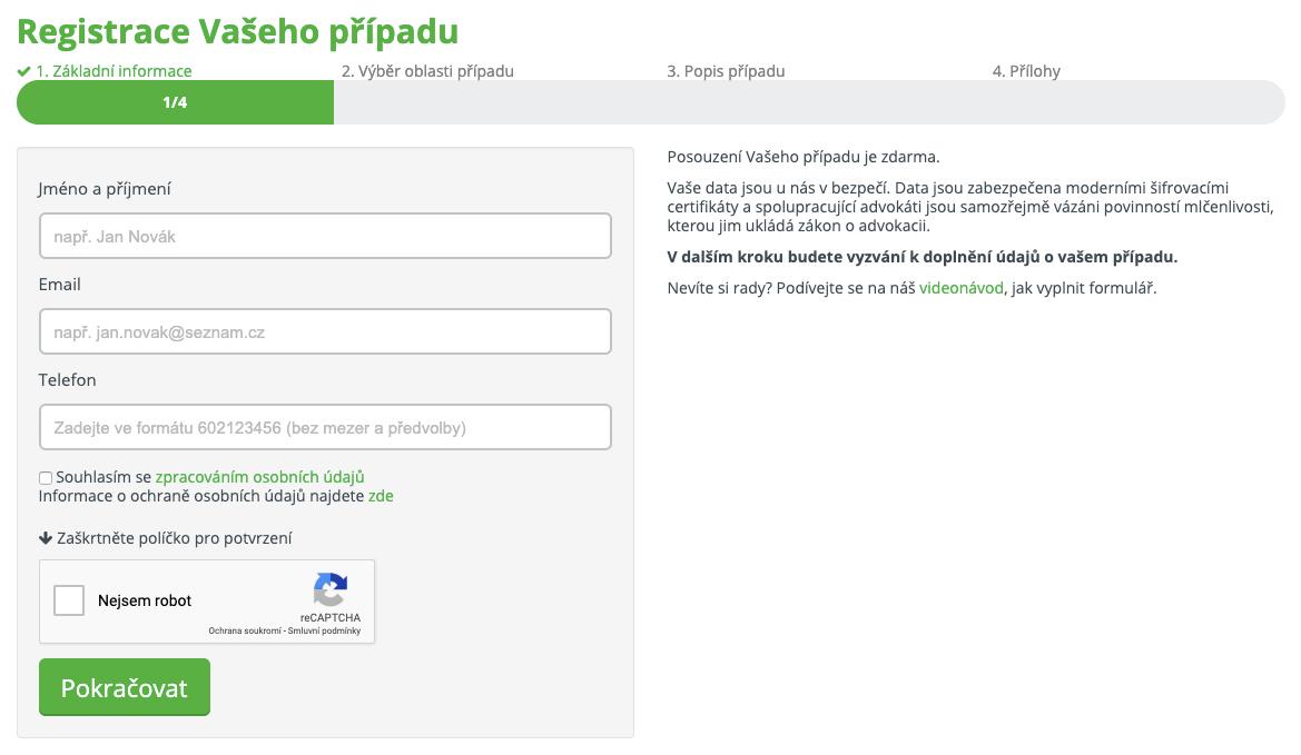 Formulář na webu Vašenároky.cz, kde můžeme zdarma zadat k posouzení náš případ a získat tak finanční kompenzaci.