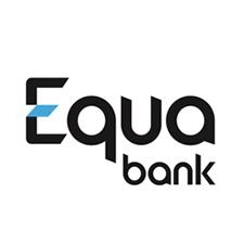 Logo banky Equa bank, která nabízí půjčku s úrokem začínajícím na 4,8 % ročně.