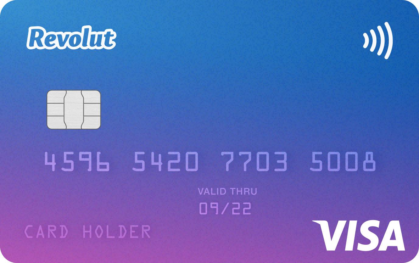 Modrofialová karta Revolut, která se vydává k bezplatným účtům STANDARD. Karta vypadá pěkně a elegantně.