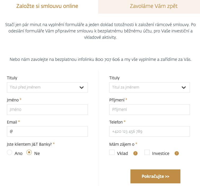 Internetový formulář J&T Banky, přes který je možné otevřít si u banky účet a začít investovat.