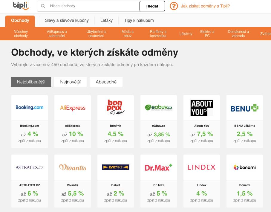 Nejoblíbenější obchody, na kterých můžete nakupovat přes Tipli.cz. Nechybí AliExpress, Datart nebo lékárna BENU.
