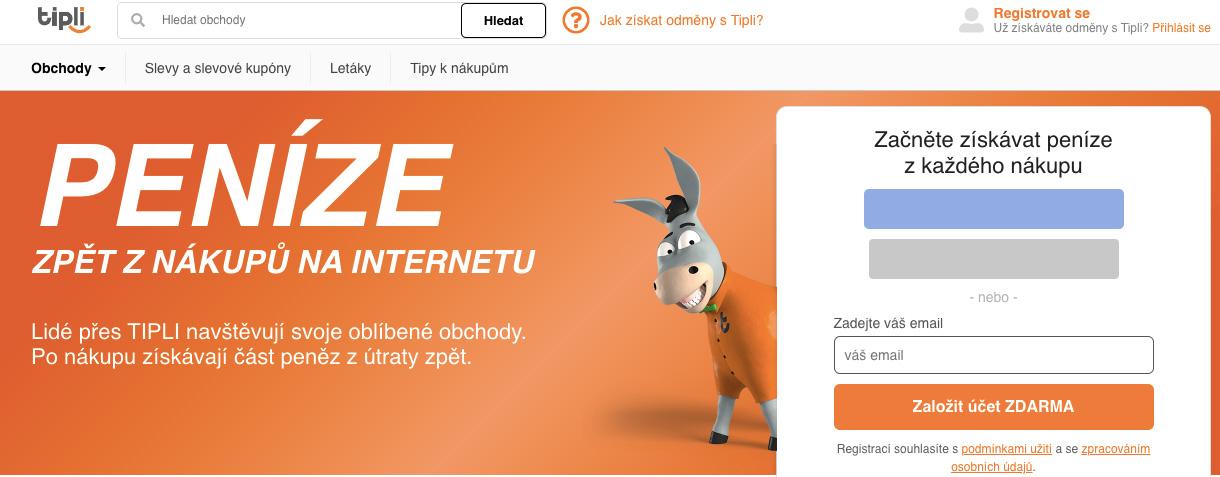 Homepage webu Tipli.cz. Hlavním maskotem firmy je oslík v oranžovém oblečku.