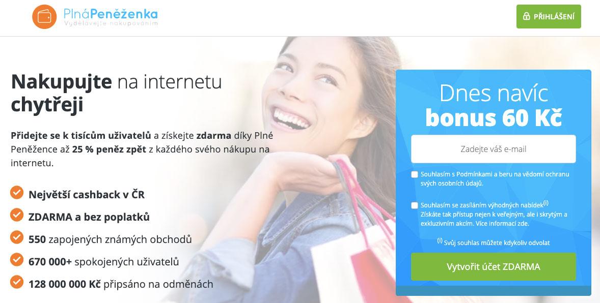 Úvodní stránka cashbacku Plná Peněženka, na které se můžete zaregistrovat přes váš email. Také dostanete bonus 60 Kč.