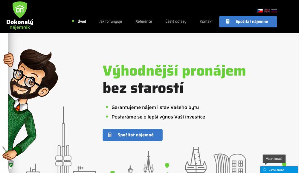 Úvodní webová stránka služby Dokonalý nájemník, na které dominuje zelená a černá barva.