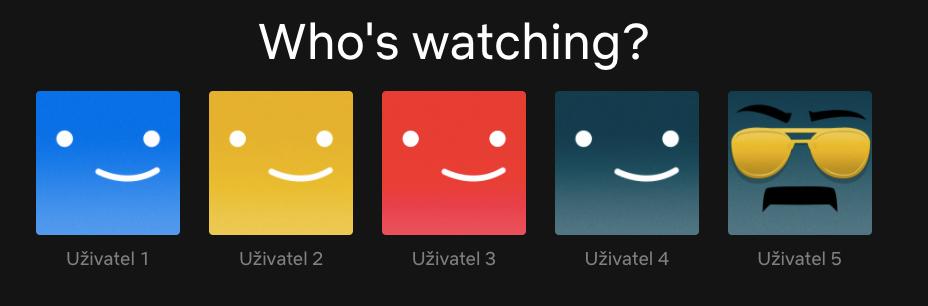 Tabulka s pěti uživateli, kteří mají přístup ke sledování služby Netflix.