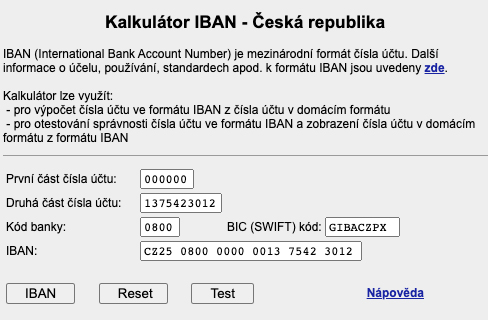 """IBAN kalkulátor na webu ČNB. Stačí zadat číslo účtu a kód banky, kliknout na """"IBAN"""" a kalkulačka vám ukáže váš IBAN."""