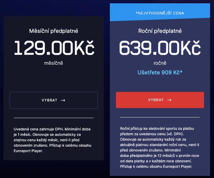 Dva tarify předplatného u Eurosport Playeru. Ten nabízí buď měsíční tarif za 129 korun měsíčně nebo roční tarif za 639 korun.