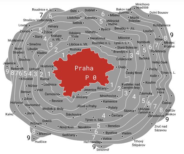 Dopravní pásma P-9 z webu Lítačky. Za roční kupon pro pásmo P0 zaplatíte 3 650 korun.