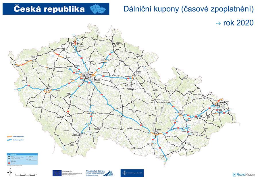 Placené a neplacené dálniční úseky na mapě od SFDI.