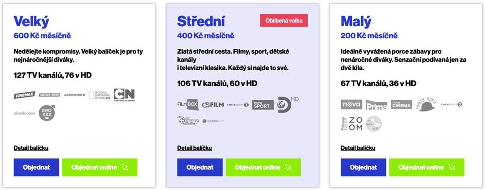 Nabídka internetové televize Telly. Ceny tarifů začínají na 200 korunách a končí na 600 korunách za měsíc.