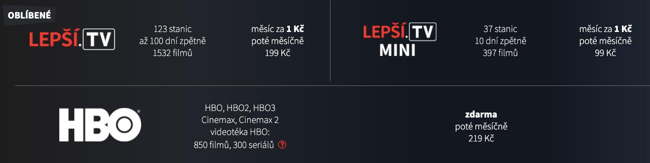 Ceny internetové televize Lepší.TV. Začínají na 99 korunách měsíčně (37 stanic) a končí na 199 korunách měsíčně (123 stanic).