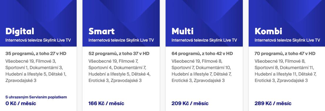 Ceny internetové televize Skylink Live TV se pohybují od 119 korun měsíčně do 289 korun měsíčně.
