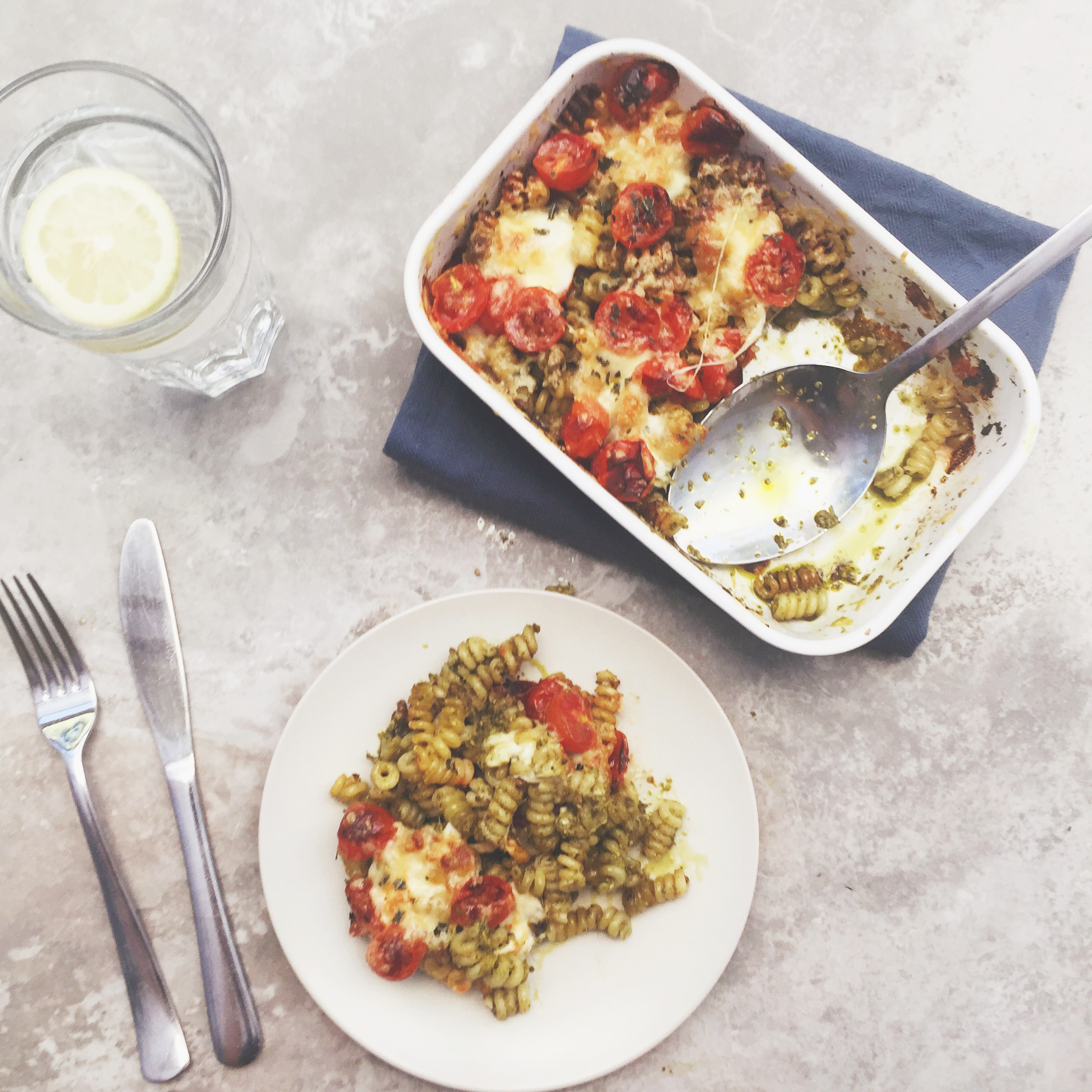 Cheesy Pesto Pasta Bake