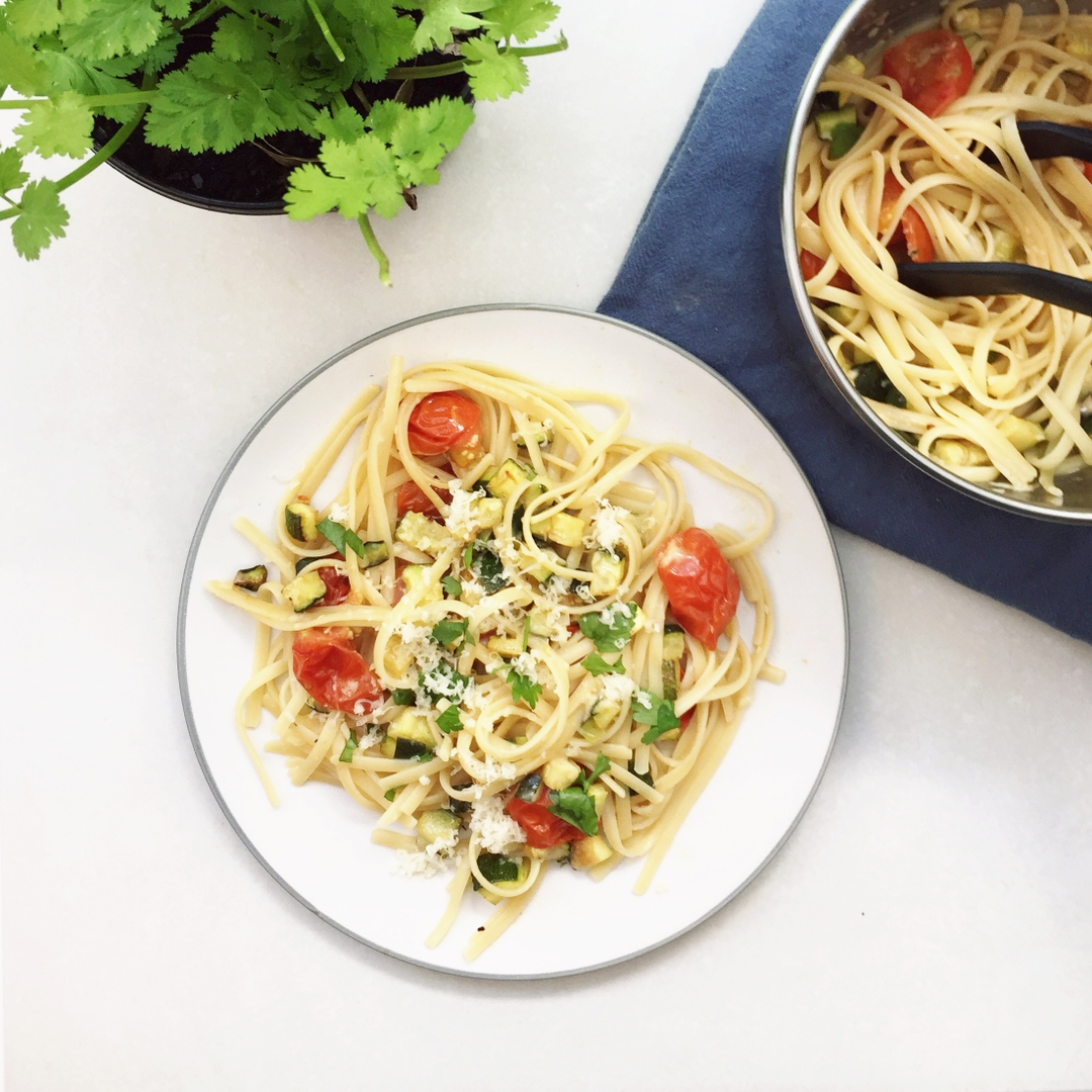 Roasted Courgette and Tomato Pasta