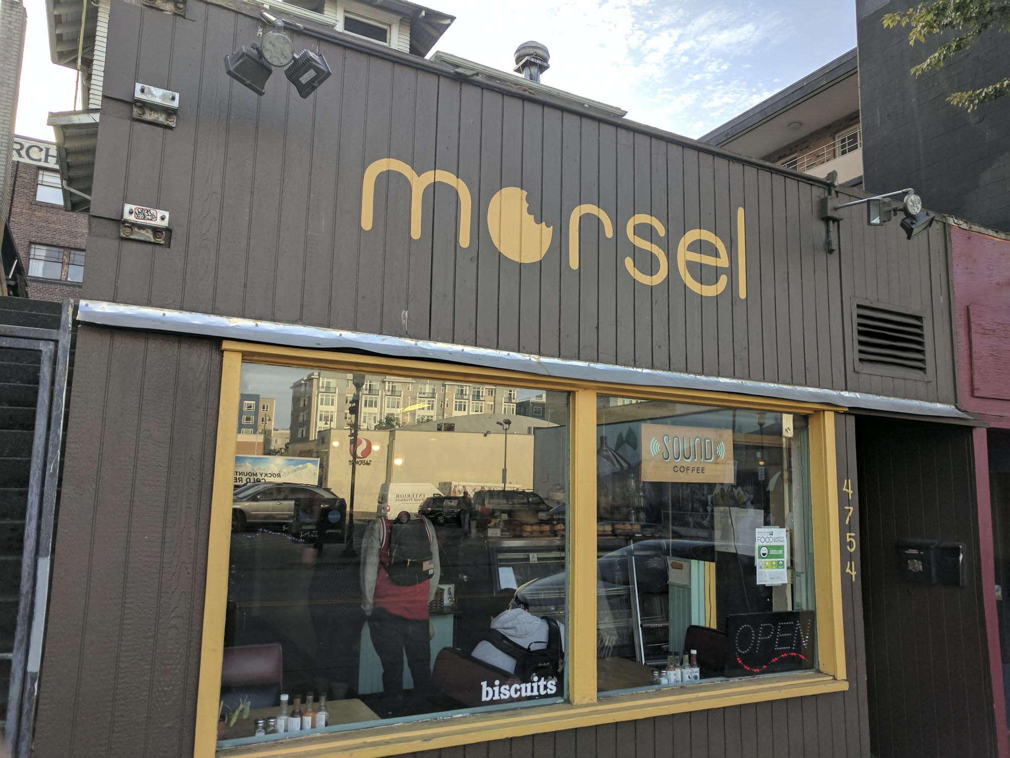 The outside of Morsel, a breakfast spot you can't miss in Seattle.