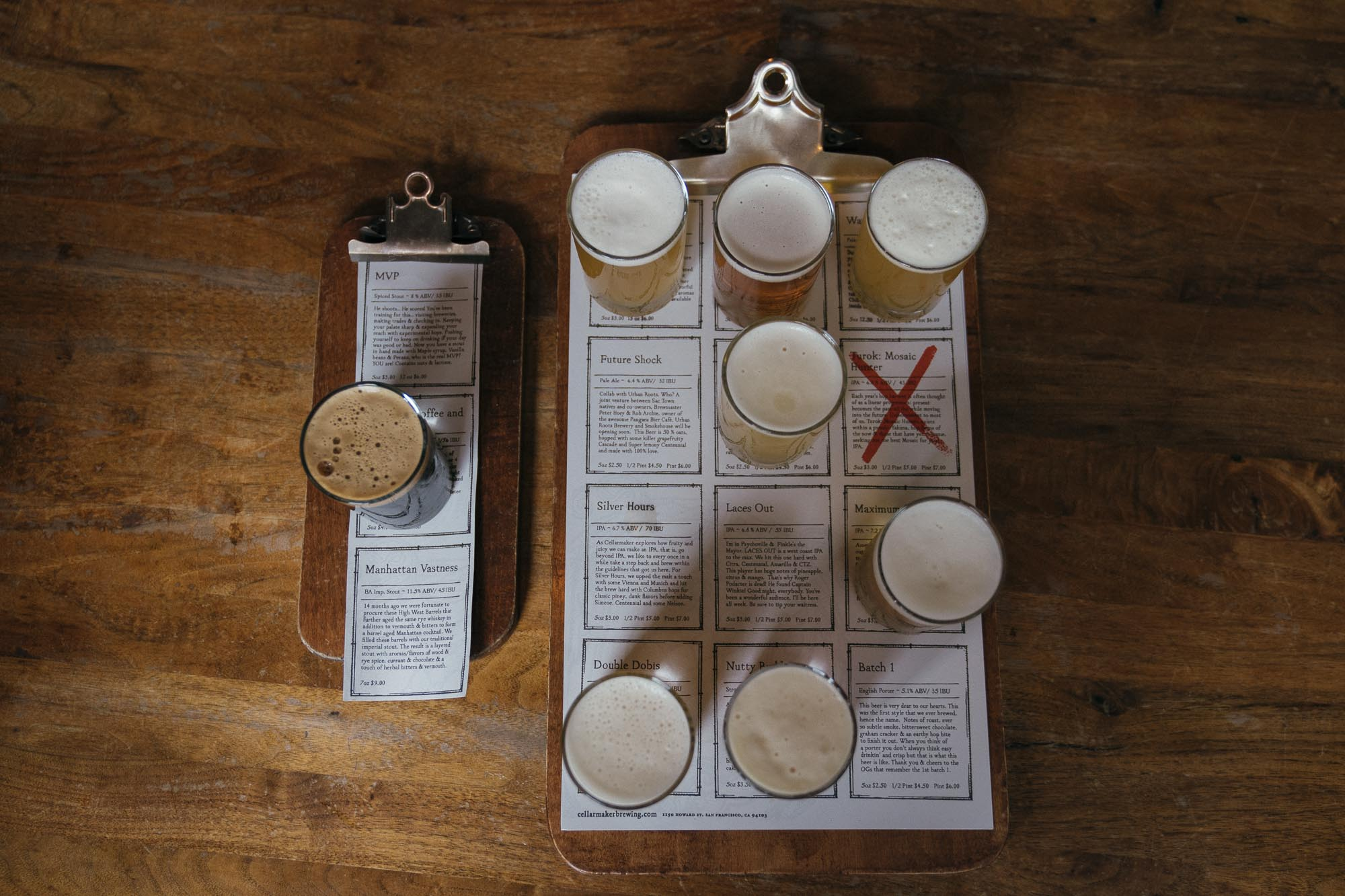 A flight of beers at Cellarmaker