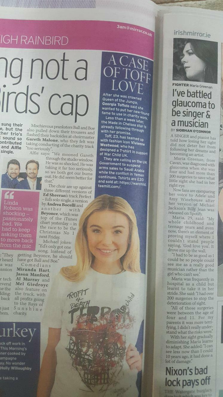 Singer Maria Greenan in the Sunday Mirror