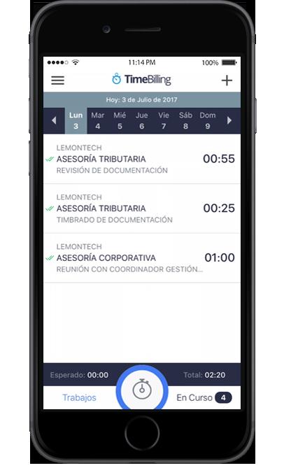 Vista de ingreso de trabajos por día de la aplicación de TimeBilling para iOS