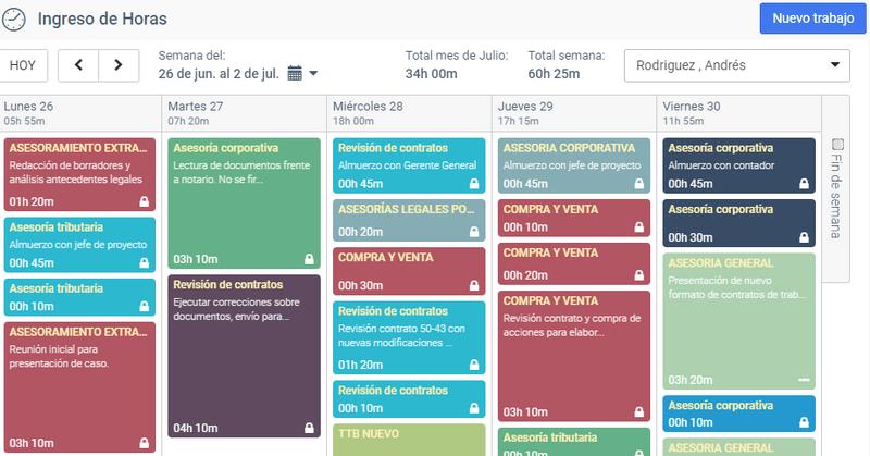 Vista de calendario de TimeBilling