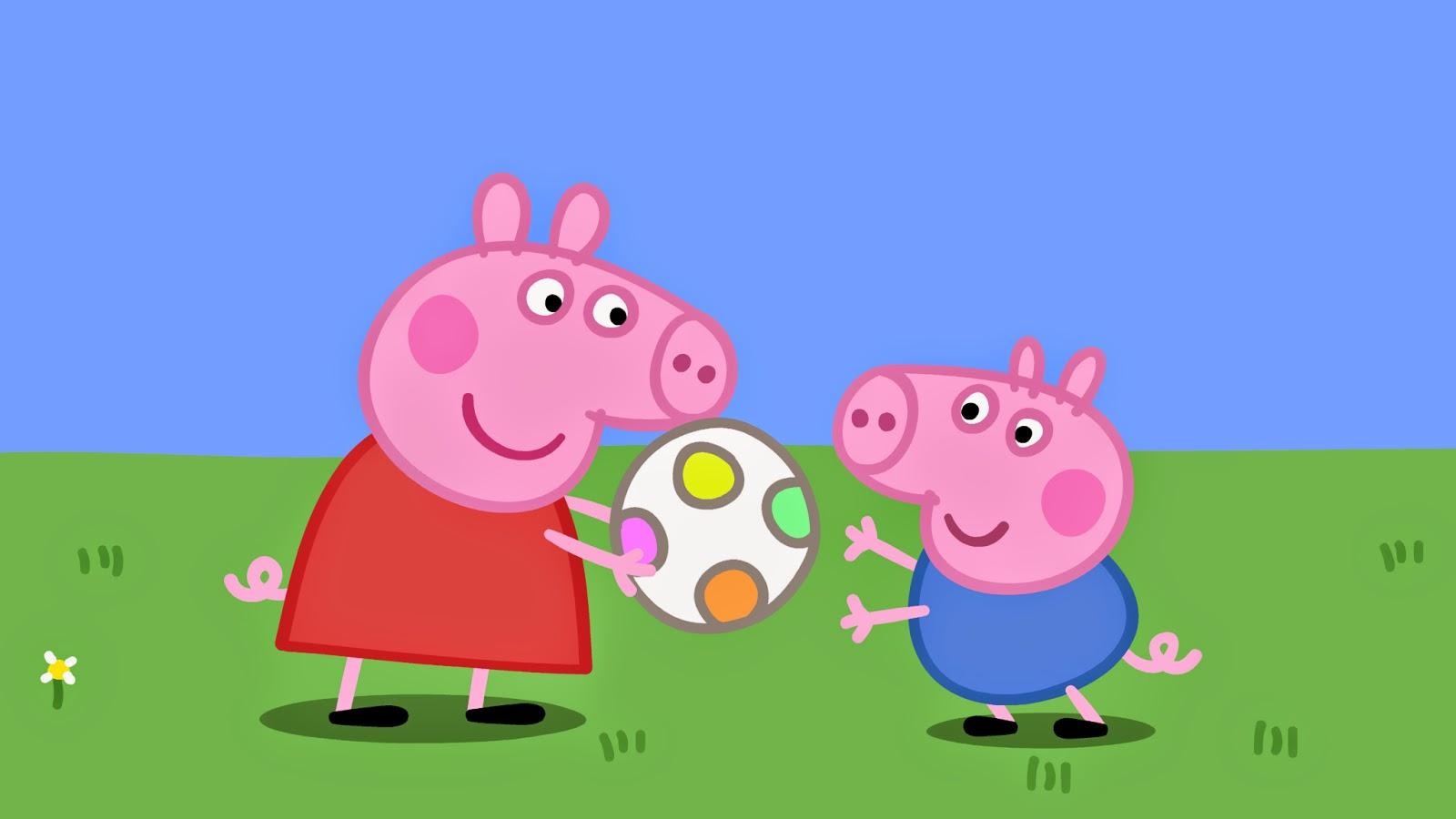 4 motivos para seus filhos assistirem Peppa Pig - Peppa e George brincando de bola