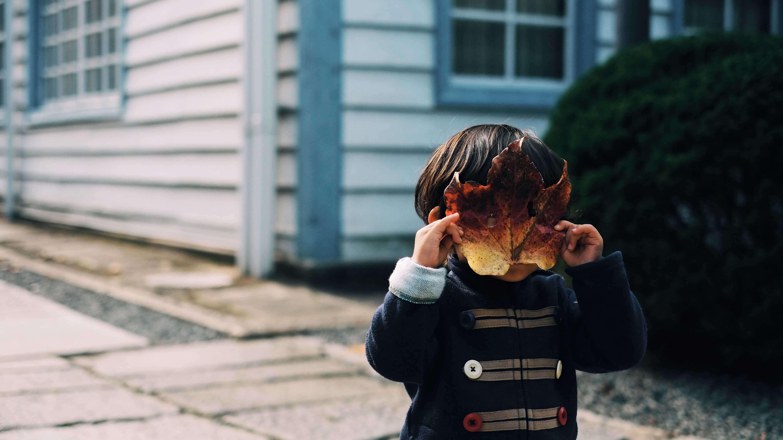 5 Dicas para lidar com a timidez na Infância - Garoto escondendo o rosto com uma folha de árvore
