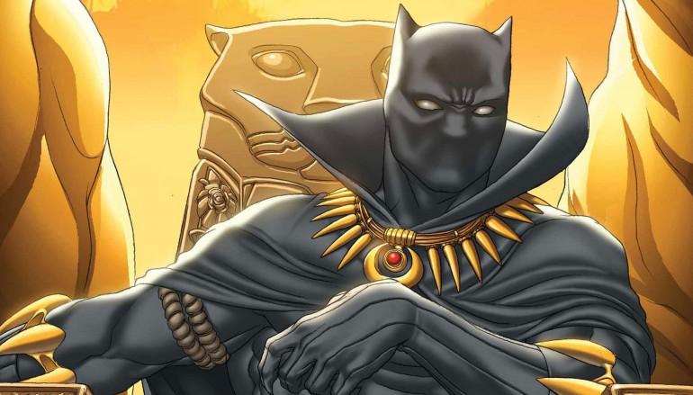 Pantera Negra sentado no trono de Wakanda.