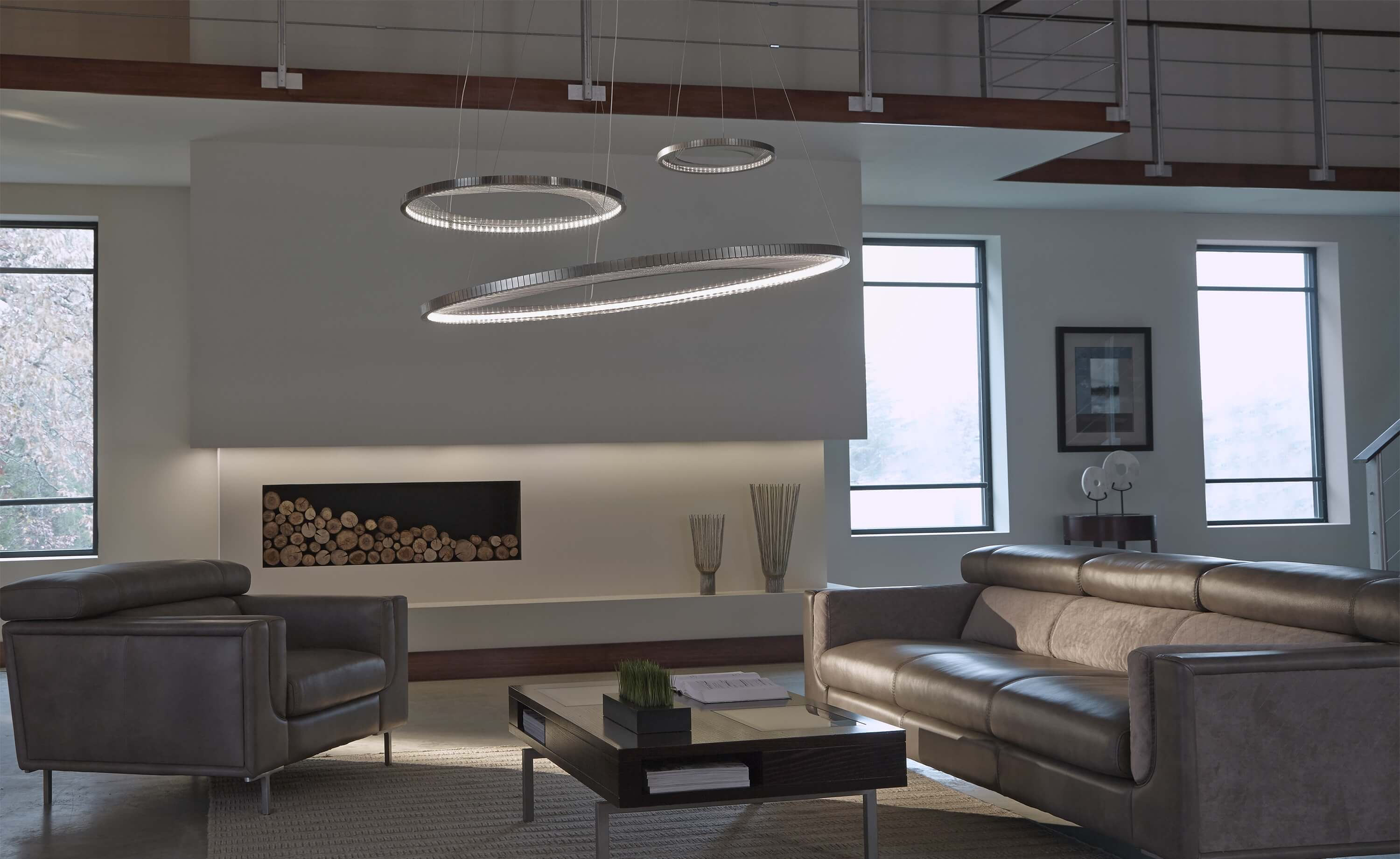 Interior application photo of a custom linear pendant from Bartco Lighting