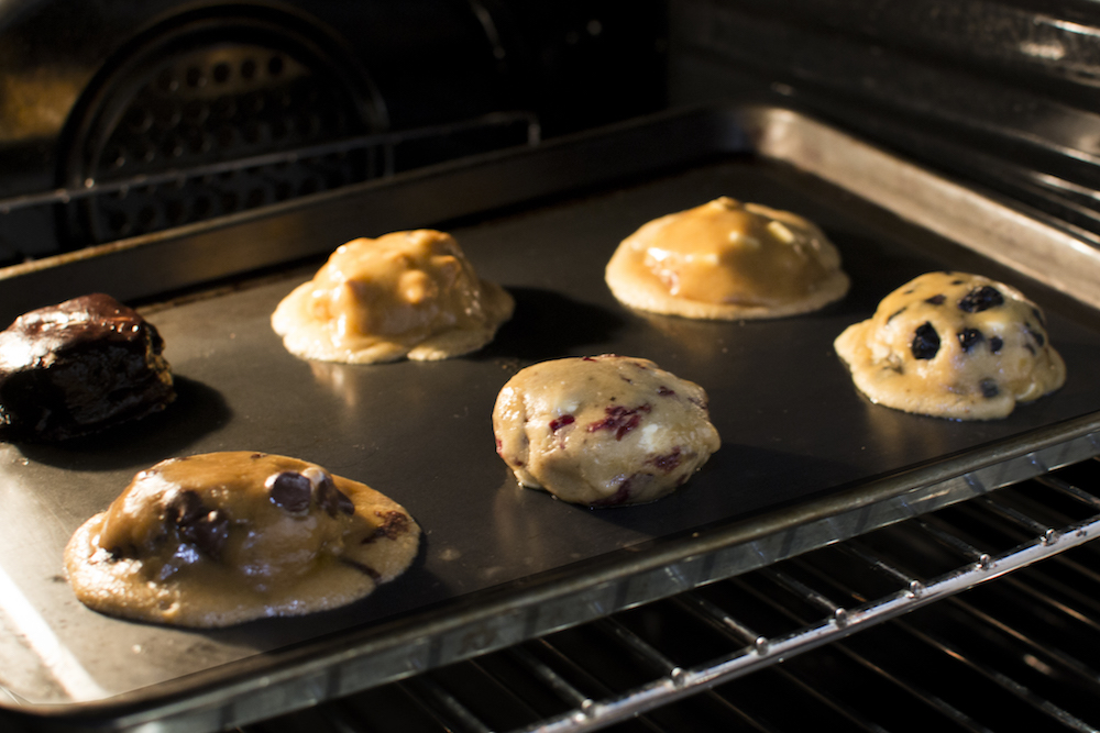 Cookie being baked in oven