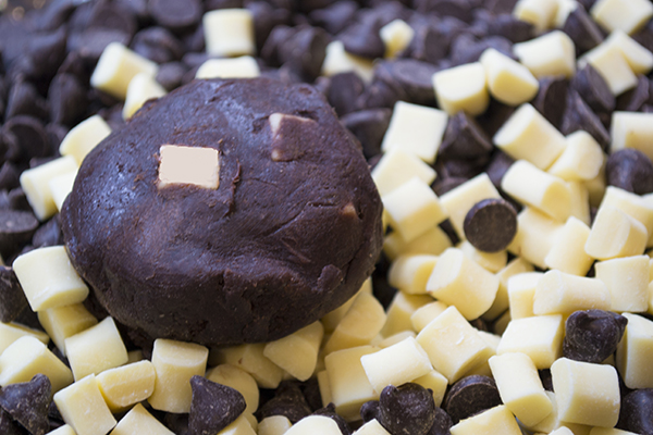 triple chocolate dough with white chocolate chips