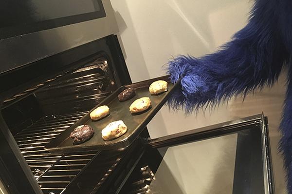 Cookie monster baking dough