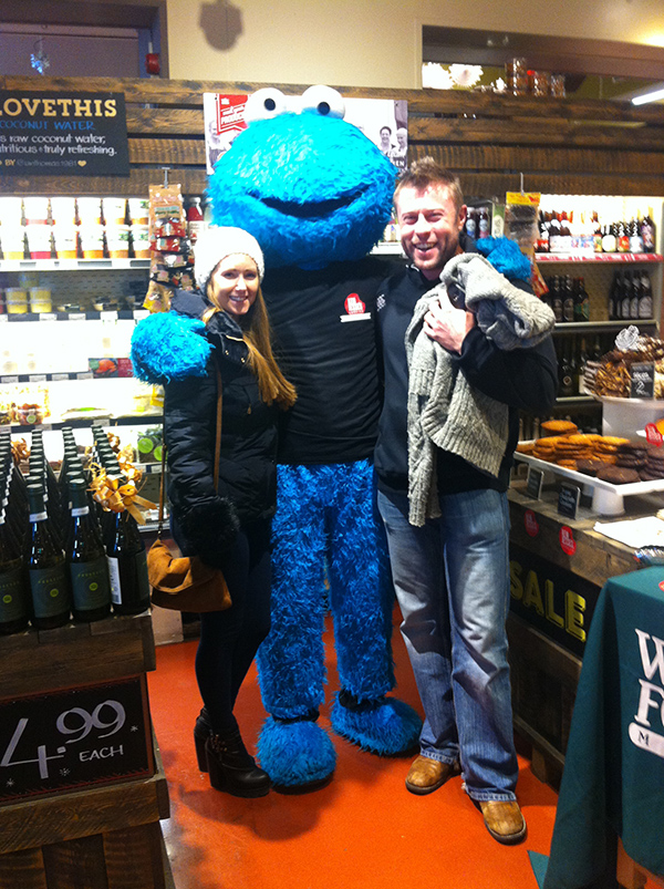 Cookie monster with couple at whole foods
