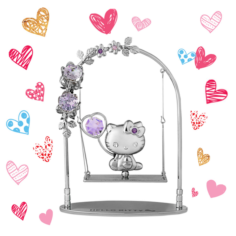 Hello Kitty Crystal Swing Figurine Blue Violet | crystocraft.com